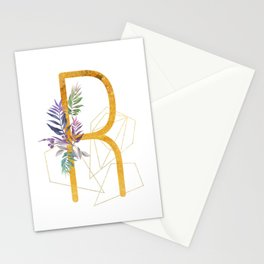 Modern glamorous personalized gold initial letter R, Custom initial name monogram gold alphabet prin Stationery Cards