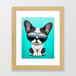 Cute French Bulldog Puppy Wearing Sunglasses Framed Art Print
