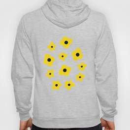 White Yellow Spring Flower Pattern Hoody