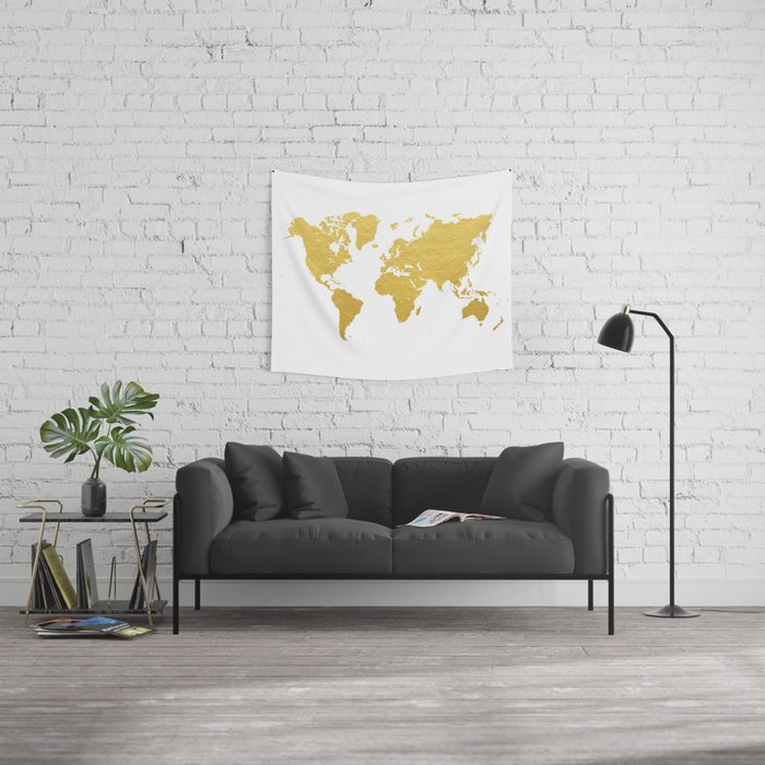 Gold world map wall tapestry by bysamantha society6 gold world map wall tapestry gumiabroncs Images