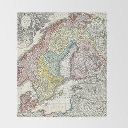 Vintage Map of Scandinavia (1730)  Throw Blanket
