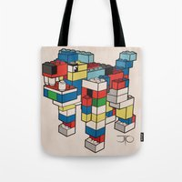 the hound Tote Bags featuring Block Hound by My Metal Hand by JTO