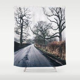 winter lanes in egland Shower Curtain