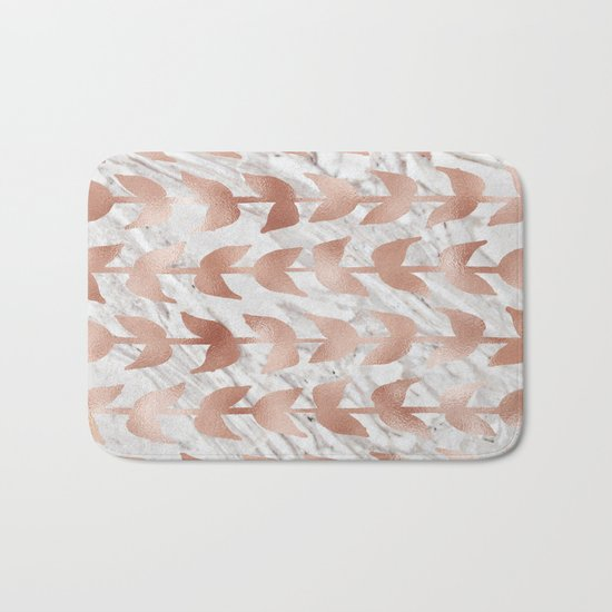 Rose gold vines on marble Bath Mat