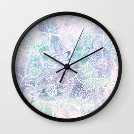 Modern purple lavender turquoise watercolor floral lace hand drawn illustration Wall Clock