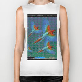 BLACK-TEAL SHABBY CHIC TROPICAL BLUE MACAWS Biker Tank