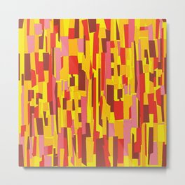 Retro Crackle Glass Pattern in Fiery Colors Metal Print