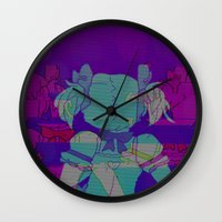 madoka magica Wall Clocks featuring MADOKA GLITCH by An Artsy Corner