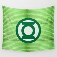 green lantern Wall Tapestries featuring Green Lantern by DeBUM