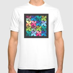 colorful semicircle pattern Mens Fitted Tee MEDIUM White