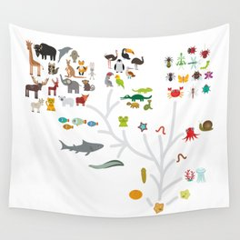 Evolution scale from unicellular organism to mammals. Evolution in biology, scheme evolution of anim Wall Tapestry