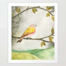 Pink Yellow Bird Art Print