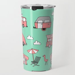 Camper summer vacation tropical pattern RV van life print by andrea lauren Travel Mug