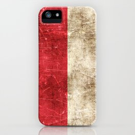 Vintage Aged and Scratched Indonesian Flag iPhone Case