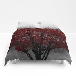 Red Tree, Grey Sky Comforters