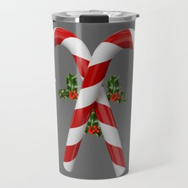 RED-WHITE  CHRISTMAS CANDY CANES HOLLY BERRIES Travel Mug