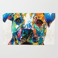 pit bull Area & Throw Rugs featuring Colorful Dog Pit Bull Art - Happy - By Sharon Cummings by Sharon Cummings