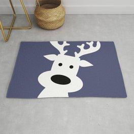 Reindeer on blue background Rug