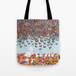 bunnies, flowers, and butterflies Tote Bag