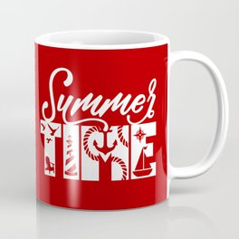 Summer TIME Nautical Solid Red, Seagull, Lounge Chair, Lighthouse, Anchor, Rope, Compass, Sail Boat Coffee Mug