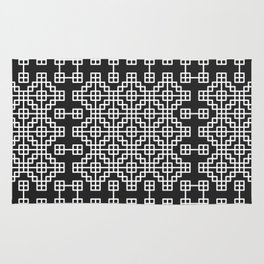 Chinese style grid pattern in black & white Rug