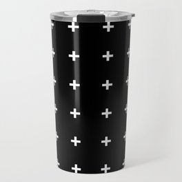 White Plus on Black /// www.pencilmeinstationery.com Travel Mug