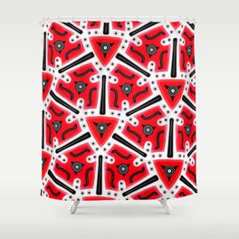 Fidget from the Black & White & Red All Over Collection Shower Curtain