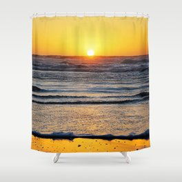 Yellow Beach Sunset Shower Curtain
