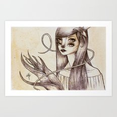> Girl and Flower 02 Art Print