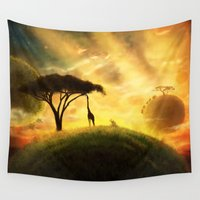 africa Wall Tapestries featuring AFRICA by J ō v