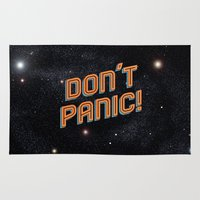 battlestar galactica Area & Throw Rugs featuring Don't Panic by Sarajea