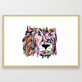 Leo Lion Lines Framed Art Print