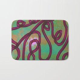 """Galactic Ribbon"" (Burgundy/Green) Digital Painting // Fine Art Print Bath Mat"