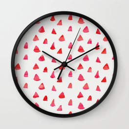 Watercolor pink red abstract geometrical triangles pattern Wall Clock