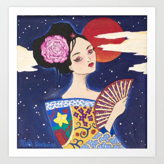 Geisha with a fan Art Print