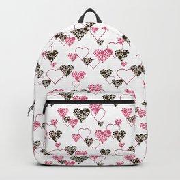 Polka dot pattern, retro, black and white, white background Backpack