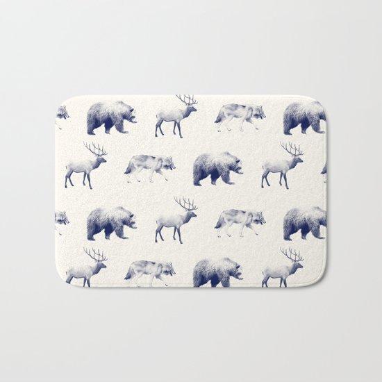 Wild Pattern // Blue Bath Mat