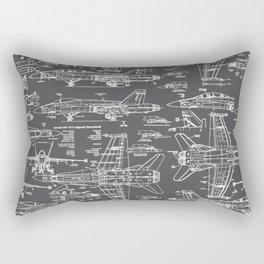 F-18 Blueprints // Charcoal-Grey Rectangular Pillow
