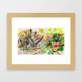 Rhinoceros Love and Friendly Observer Together! Framed Art Print