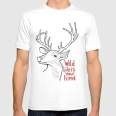 Wildlife is Your Friend Mens Fitted Tee MEDIUM White