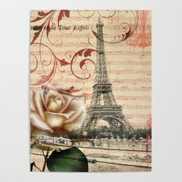 vintage chandelier white rose music notes Paris eiffel tower Poster