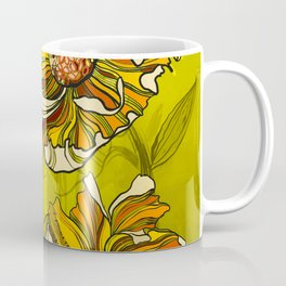 Spring Summer retro vintage California poppies flowers 70s Coffee Mug