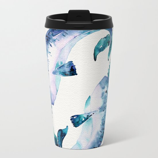 Blue Narwhals Metal Travel Mug