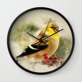 Goldfinch Watercolor Art Wall Clock