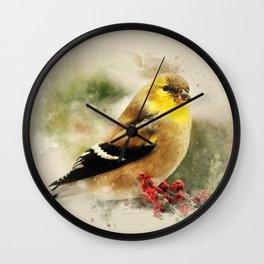 Goldfinch Watercolor Art Wall Clock