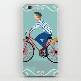 Vintage Style Frenchman on a Bicycle with Baguette Art Print iPhone Skin