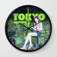 gaming Wall Clocks featuring Tokyo Gaming by monocefalus