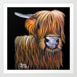 Scottish Highland Cow ' JOCK ' by Shirley MacArthur Art Print
