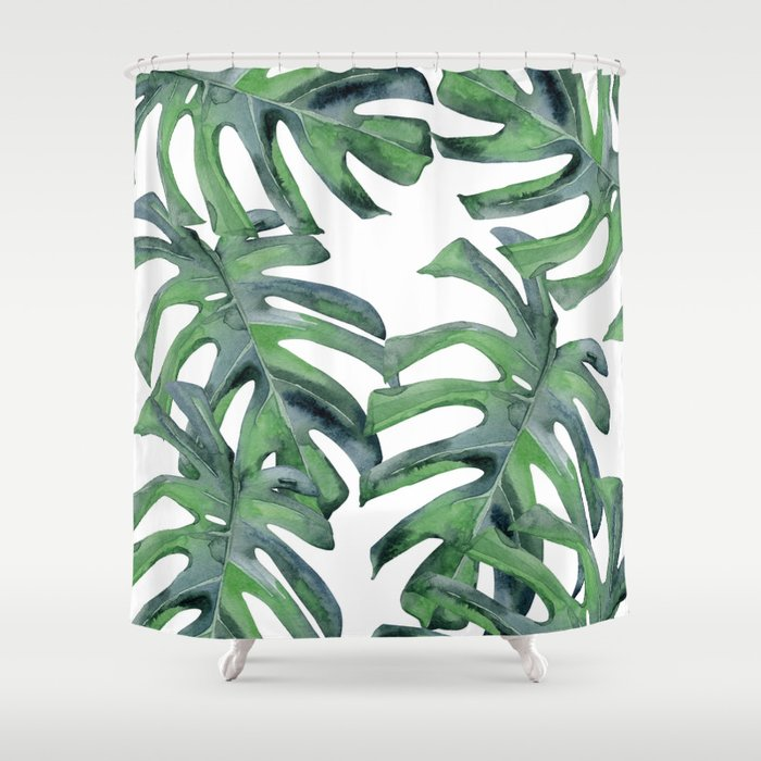 Tropical Palm Leaves Green On White Shower Curtain