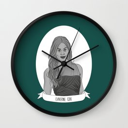 Laverne Cox Illustrated Portrait Wall Clock
